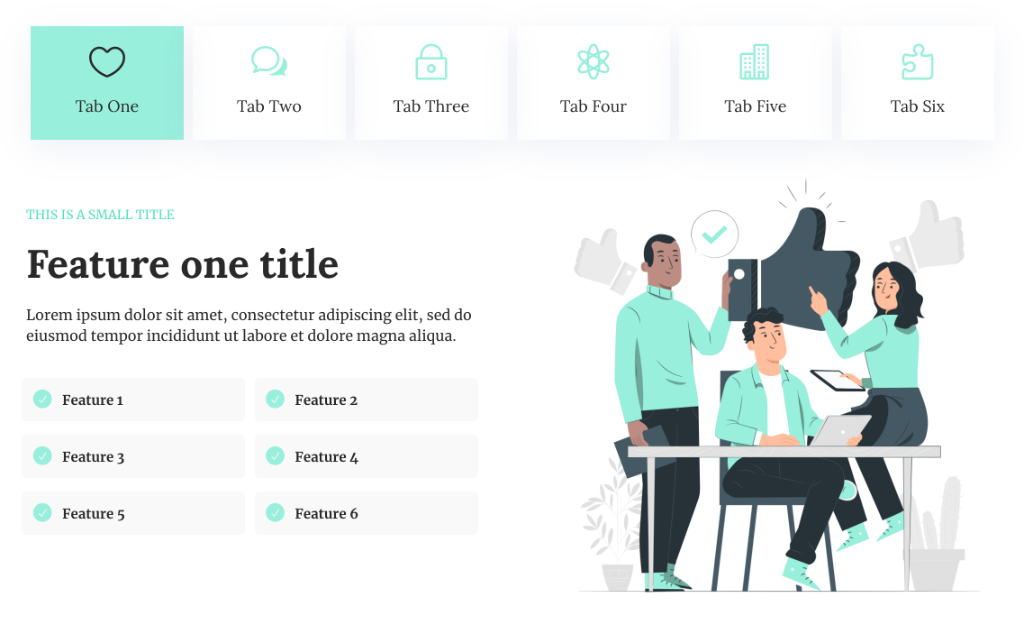 Features Tabs Section for Divi
